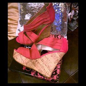Pink Strappy Cork Platforms - Fuschia Twill